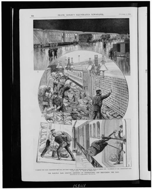 The Railway mail service - methods of distributing and delivering the mail / from sketches by a staff artist.