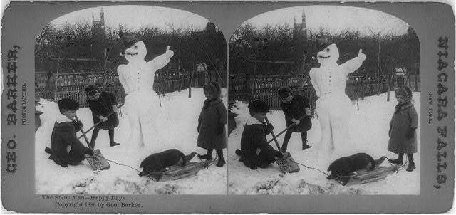 The snow man--happy days / George Barker, photographer, Niagara Falls, New York.