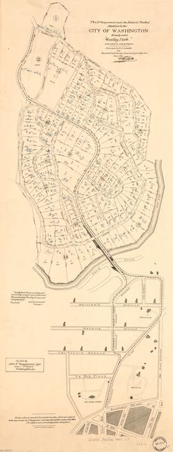 "Thos. E. Waggaman and Jno. Ridout, trustees', addition to the city of Washington, formerly called ""Woodley Park"" : lots extended to center of avenues /"