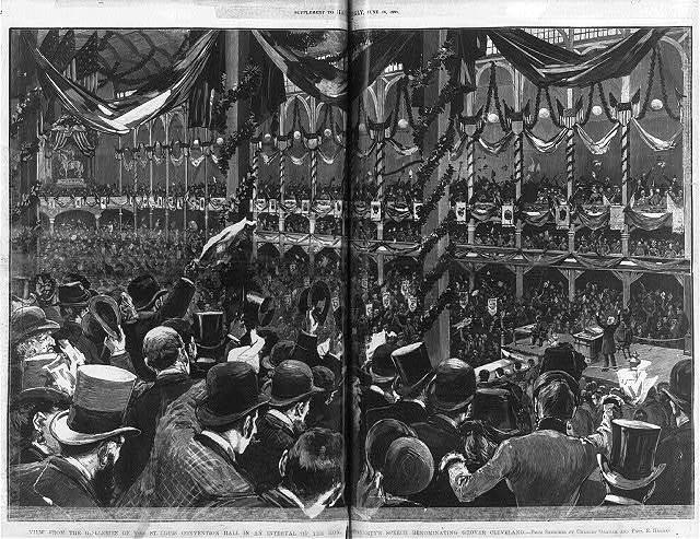 View from the galleries of the St. Louis Convention Hall, during speech re-nominating Grover Cleveland
