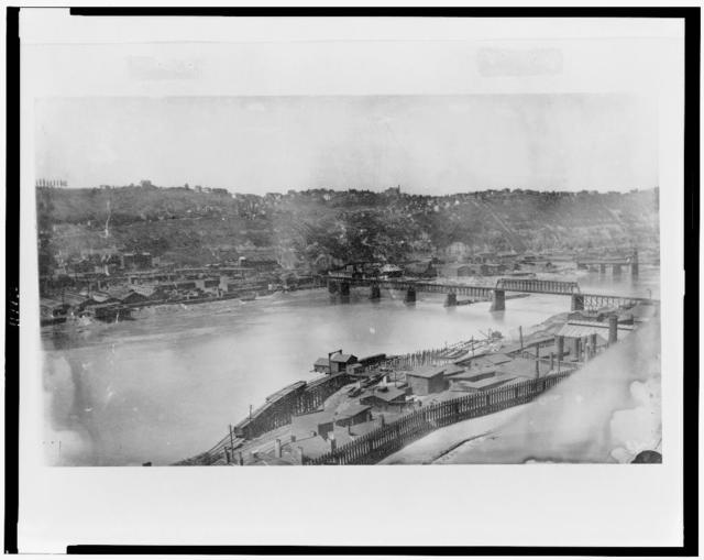[View of the South side of Pittsburgh, Pennsylvania, from Bluff St., showing railroad trestle work down to river]