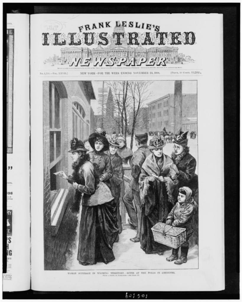 Woman suffrage in Wyoming Territory. -- Scene at the polls in Cheyenne / from a photo. by Kirkland.