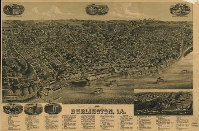 1889 perspective map of the city of Burlington, Ia.