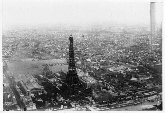 [Aerial view of Paris, France, from balloon, showing the Eiffel Tower in center foreground, taken during the Paris Exposition of 1889]