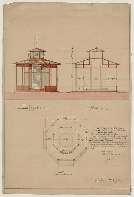 "[Architectural drawing showing elevation, cross section, and plan for a ""hirondellier militair,"" a military aviary for swallows used as messenger birds] / Paris, le 25 j[...], '89."