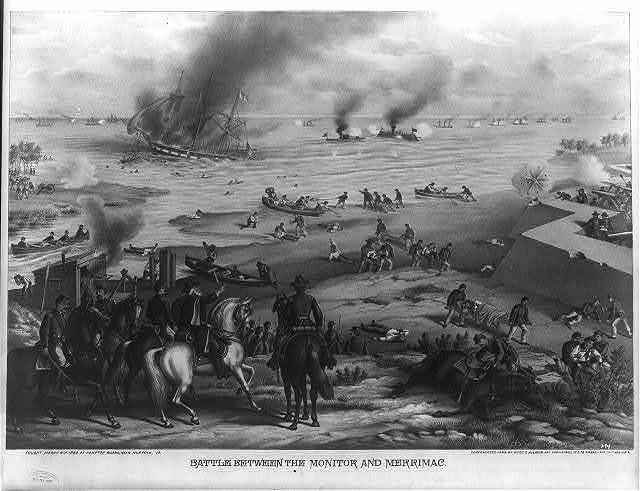 Battle between the Monitor and Merrimac--fought March 9th 1862 at Hampton Roads, near Norfolk, Va.
