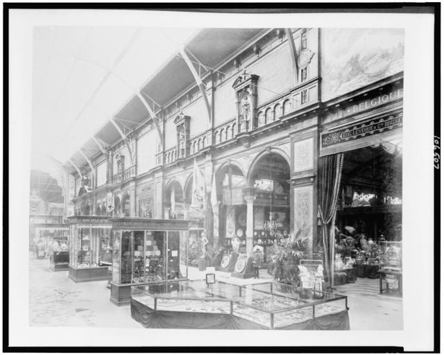 [Belgian exhibit, displaying pottery and decorative arts, Palace of Diverse Industries, Paris Exposition, 1889]