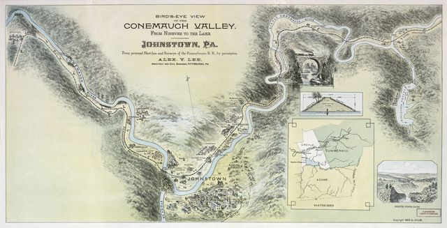 Bird's-eye view of the Conemaugh Valley from Nineveh to the lake, Johnstown, Pa. : from personal sketches and surveys of the Pennsylvania R.R. by permission /