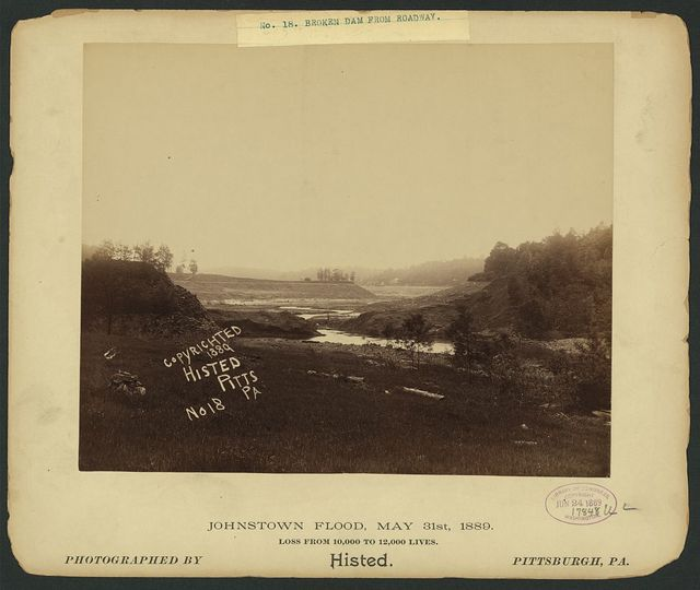 Broken dam from roadway, Johnstown Flood, May 31st, 1889