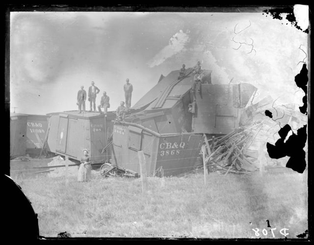 Burlington and Missouri River Railroad train wreck near Dunning, Blaine County, Nebraska