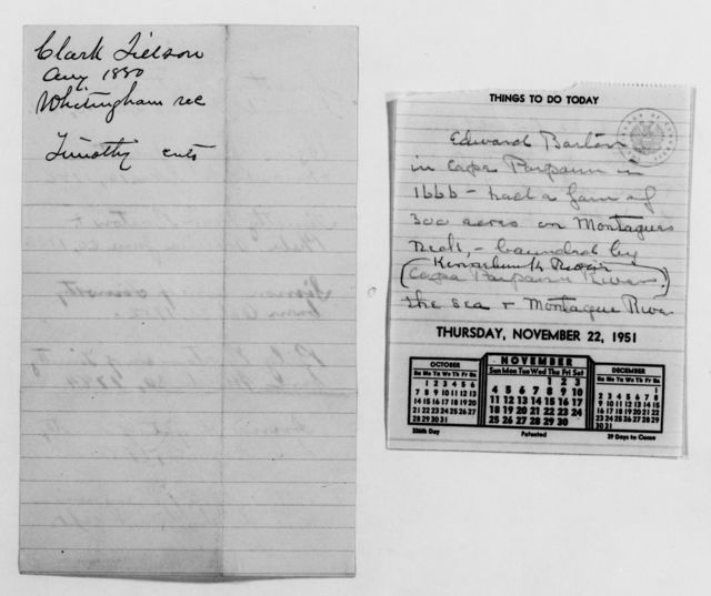 Clara Barton Papers: Family Papers: Genealogy; Charts and notes, 1889, 1930, 1951-1952, undated