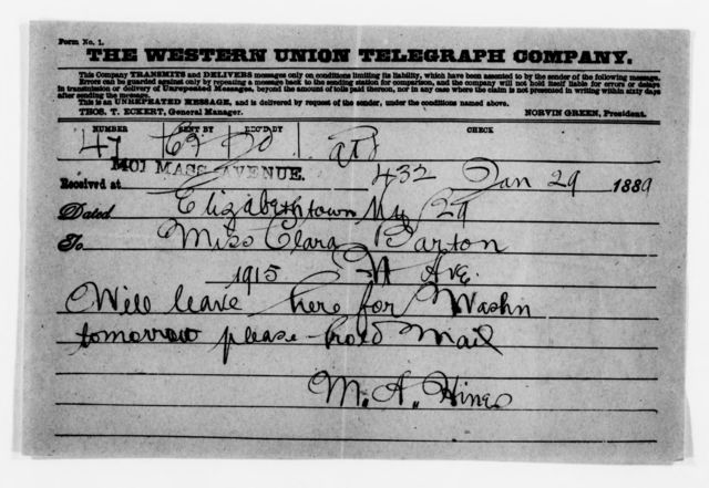 Clara Barton Papers: General Correspondence, 1838-1912; Hines, Mollie A., 1889-1902, undated