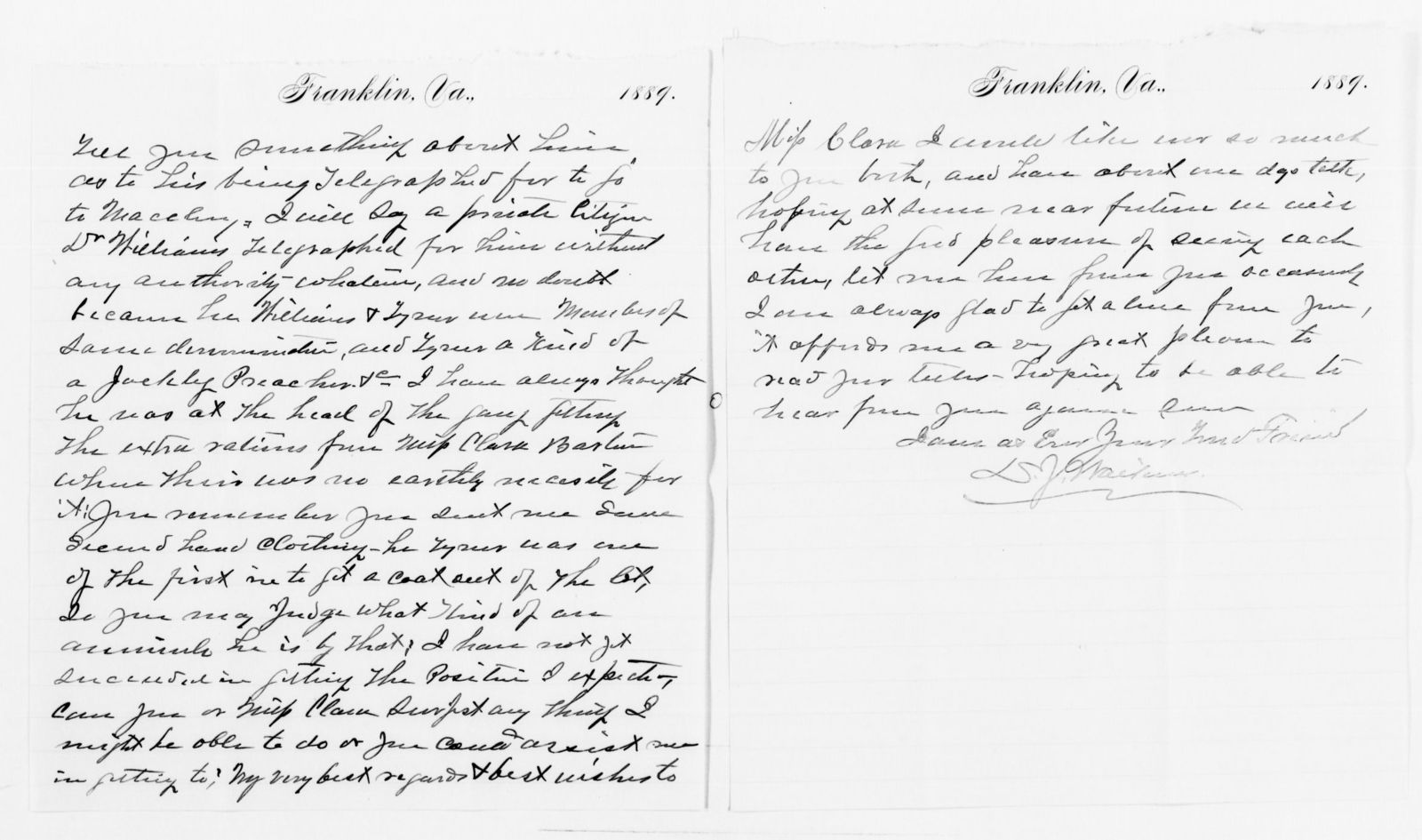 Clara Barton Papers: Red Cross File, 1863-1957; American National Red Cross, 1878-1957; Relief operations; Jacksonville and Macclenny, Fla.; Correspondence; 1889, undated