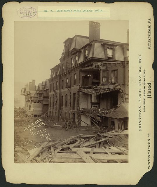Club house press looking south, Johnstown Flood, May 31st, 1889