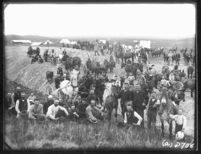 Cochran's Railroad construction (Burlington and Missouri River Railroad) Camp.  West of Sargent, Custer County, Nebraska.