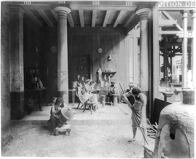 [Diorama in the History of Work exhibit showing early Greek pottery making, Paris Exposition, 1889]