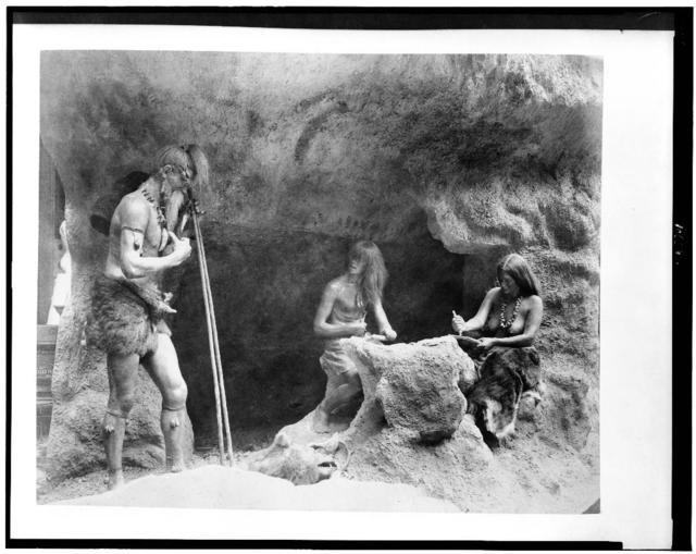 [Diorama in the History of Work exhibit showing Stone Age people making flint instruments, Paris Exposition, 1889]