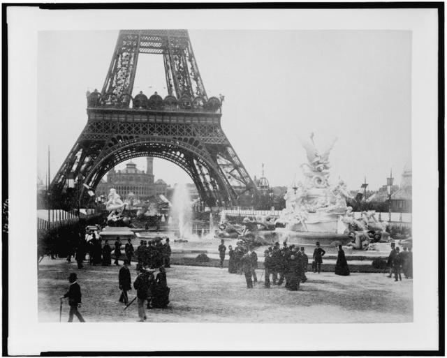 [Eiffel Tower and Fountain Coutan with Trocadéro Palace in background, Paris Exposition, 1889]