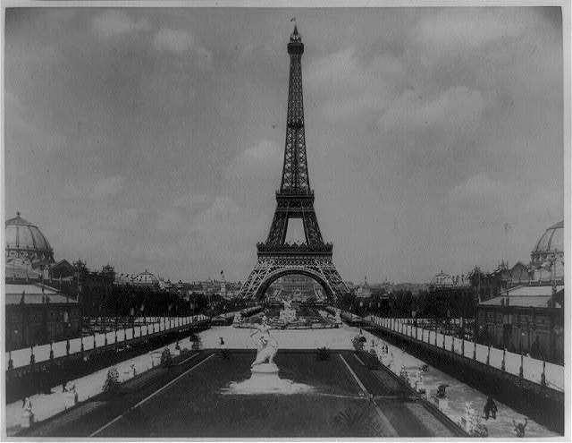 [Eiffel Tower, with Fountain Coutan to left, looking toward Trocadéro Palace, Paris Exposition, 1889]