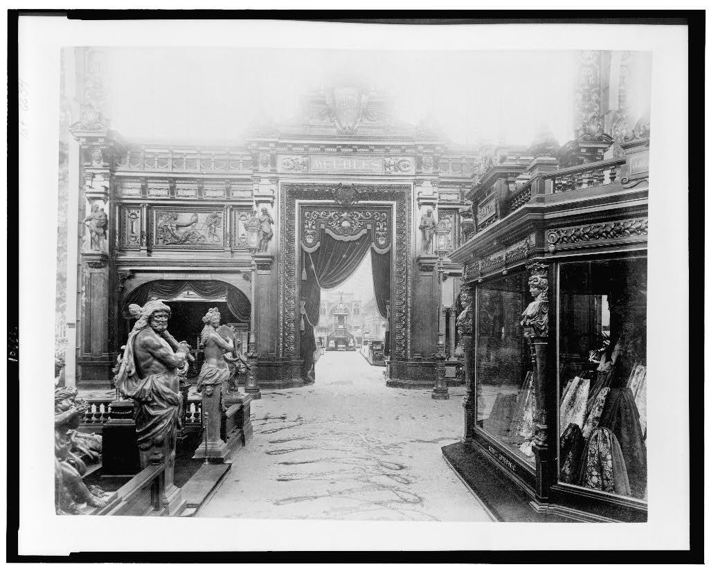 [Entrance to the furniture exhibit in the Palace of Diverse Industries, Paris Exposition, 1889]