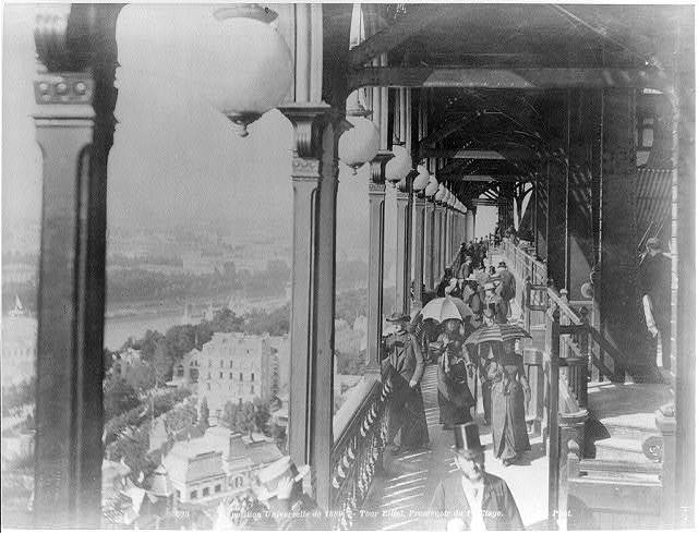[First floor promenade, Eiffel Tower, Paris Exposition, 1889]