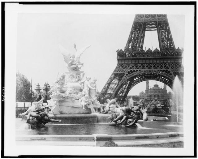 [Fountain Coutan and base of Eiffel Tower with Trocadéro Palace in background, Paris Exposition, 1889]