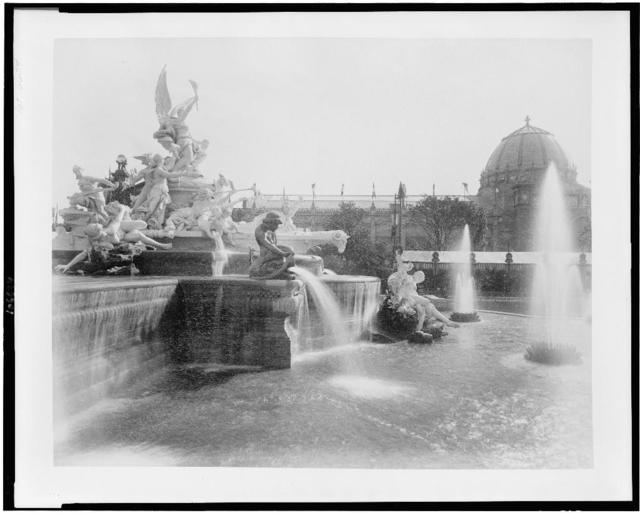 [Fountain Coutan looking toward the Palace of Liberal Arts, Paris Exposition, 1889]