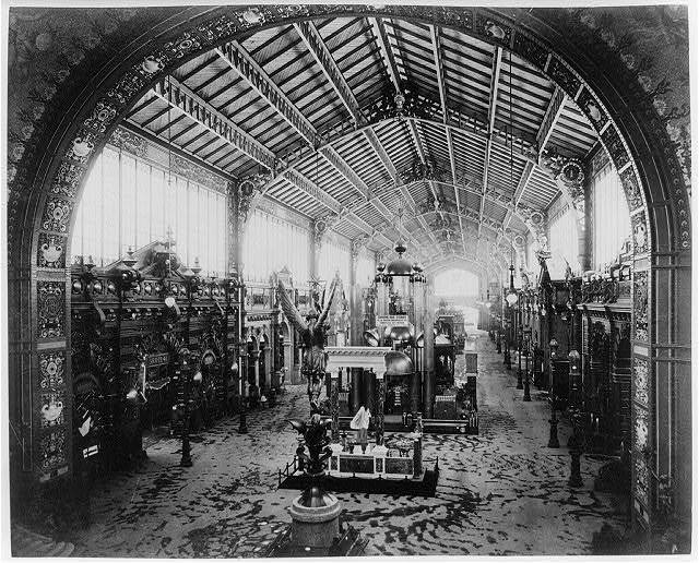 [Gallery of Thirty Meters, looking toward the Central Dome, with bronze statue of St. Michael in foreground, Paris Exposition, 1889]