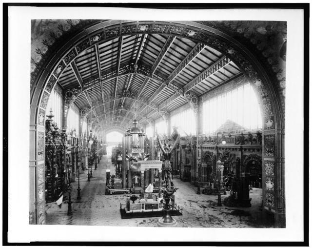 [Gallery of Thirty Meters, looking toward the Central Dome, with the bronze statue of St. Michael in foreground, Paris Exposition, 1889]