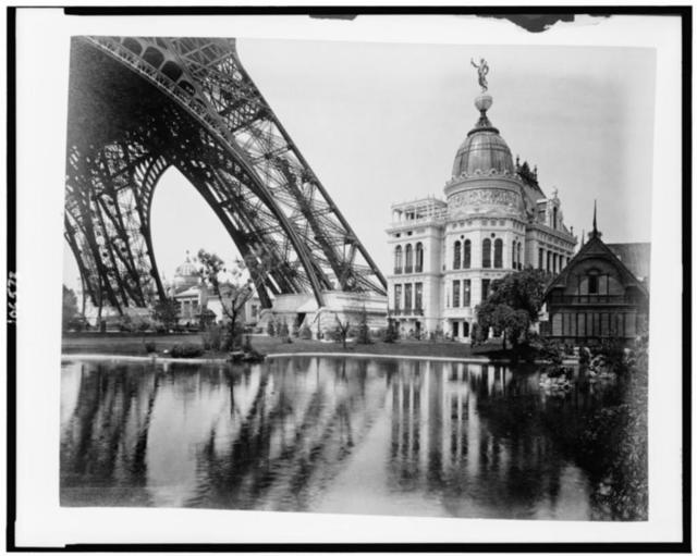 [Gas Pavilion and Swedish chalet at right, section of Eiffel Tower at left, Paris Exposition, 1889]