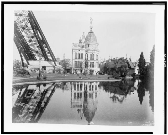 [Gas Pavilion, Swedish chalet, and a section of the base of the Eiffel Tower, Paris Exposition, 1889]