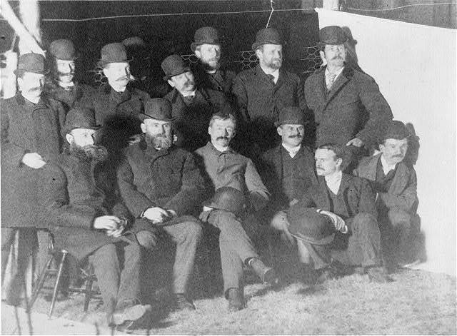 Group of Nuttall Ornithological Club, taken near the Brewster Museum, 1889, by flashlight