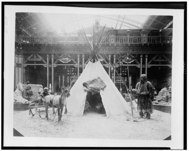 [History of Work diorama showing Samoyedes with tepee and reindeer pulling sled, Paris Exposition, 1889]