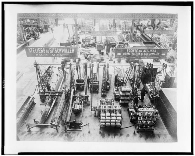 [Interior of Gallery of Machines, showing textile machinery, Paris Exposition, 1889]