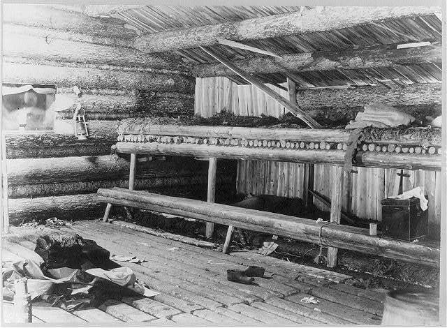 Interior of loggers' camp on Mud Pond in which 39 nights were spent camping