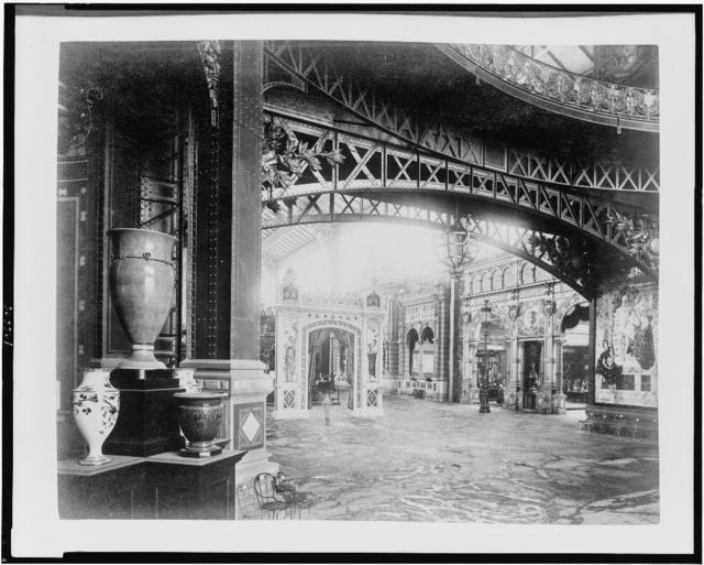 [Interior of the Central Dome, looking toward the Gallery of Thirty Meters and the entrance to the jewellers' exhibit, Paris Exposition, 1889]