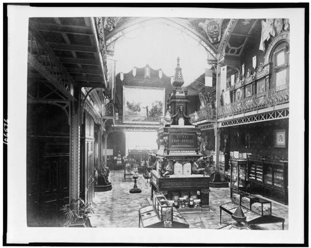[Interior of the Pavilion of Uruguay, showing products from Uruguay, Paris Exposition, 1889]