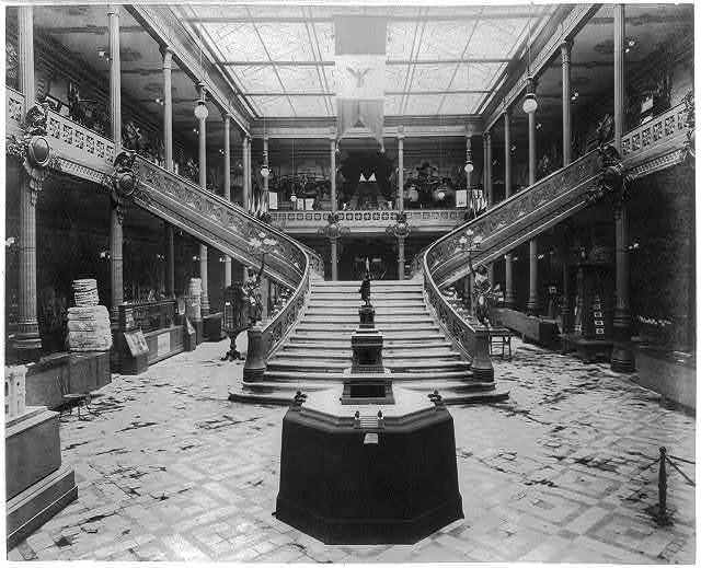 [Interior view of the Pavilion of Mexico, showing stairway and exhibits, Paris Exposition, 1889]