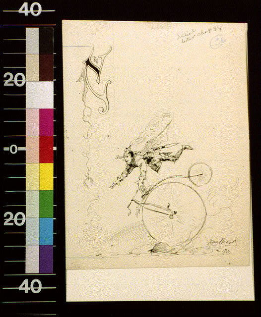 [Knight falling off bicycle and letter C]