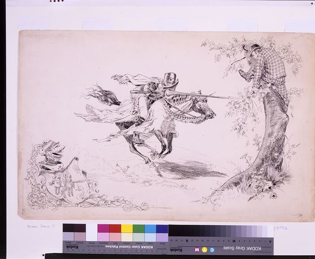 [Knight in armor tilting at man in modern dress in tree onto which a man in modern dress has climbed for refuge]