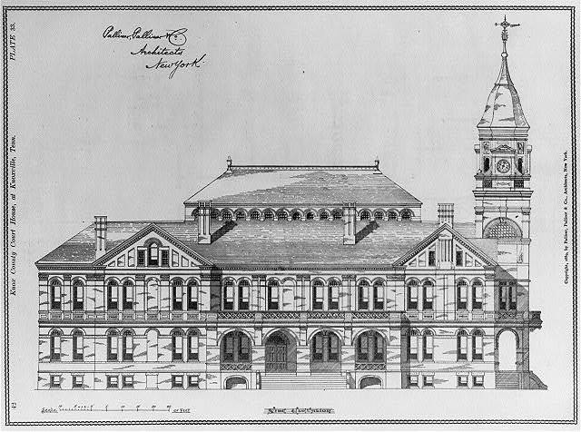 Knox County Court House, at Knoxville, Tenn.: Side elevation - plate 33