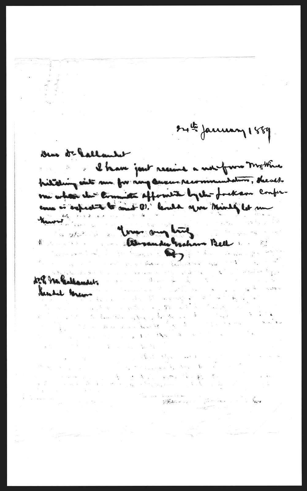 Letter from Alexander Graham Bell to Edward M. Gallaudet, January 24, 1889