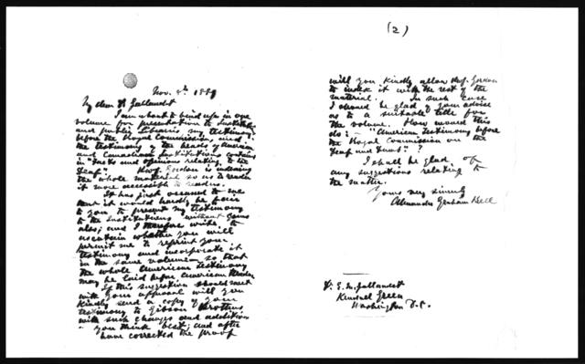Letter from Alexander Graham Bell to Edward M. Gallaudet, November 8, 1889