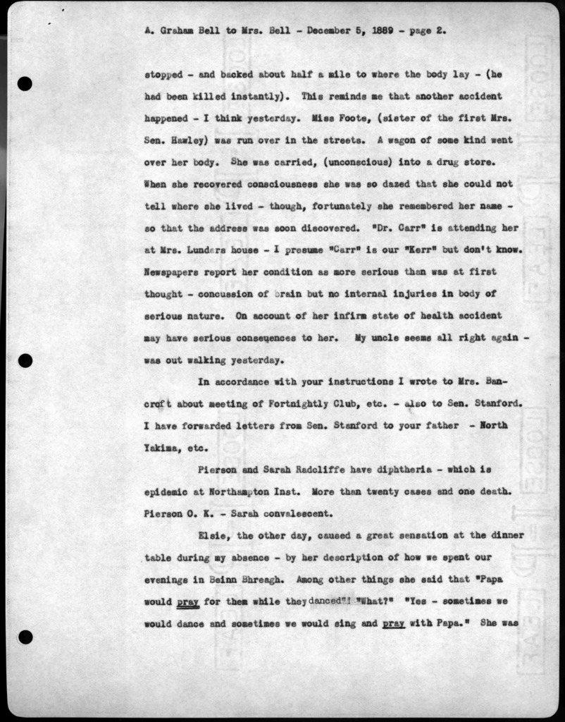 Letter from Alexander Graham Bell to Mabel Hubbard Bell, December 5, 1889