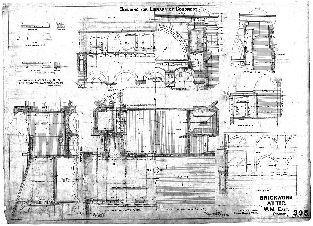[Library of Congress (Washington, D.C.). Attic. Brickwork. Plans, sections, and elevations. Working drawing] / Paul F. Pelz, architect.