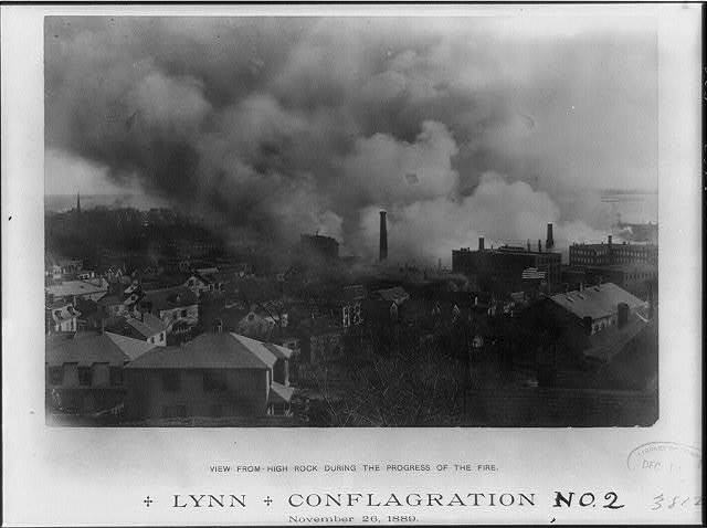Lynn Conflagration No. 2, view from high rock during the progress of the fire, November 26th 1889