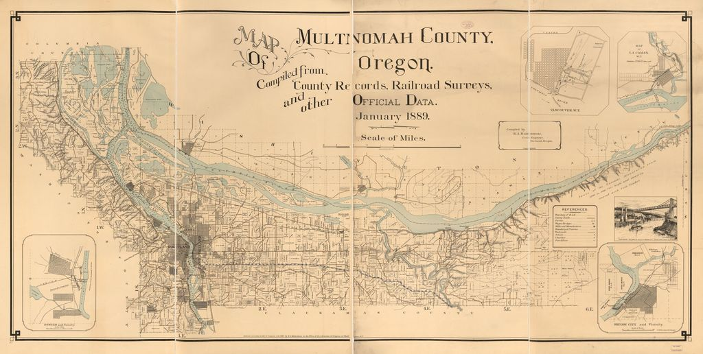 Map of Multnomah County, Oregon : compiled from county records, railroad surveys, and other official data /