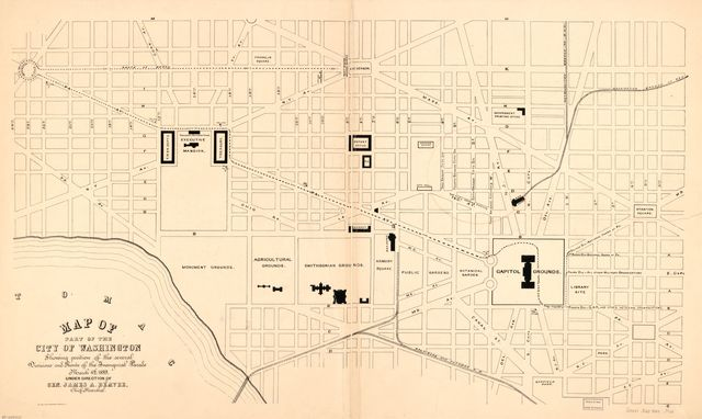 Map of part of the city of Washington showing position of the several divisions and route of the inaugural parade, March 4th 1889 : under direction of Gen. James A. Beaver, chief marshal.