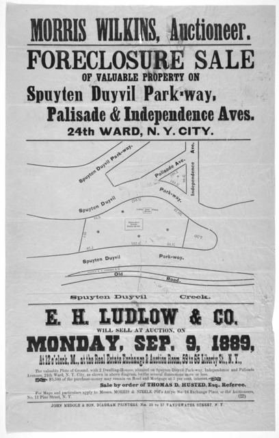 Morris Wilkins, auctioneer. Foreclosure sale of valuable property on Spuyten Duyvil Park-way. Palisade & Independence Aves. 24th ward. N. Y. City. [map] E. H. Ludlow & Co. will sell at auction, on Monday, Sep. 9, 1889 ... the valuable plots of g