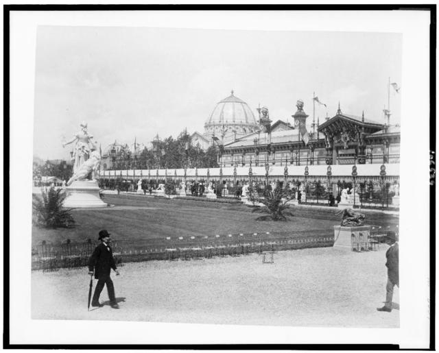 [Palace of Fine Arts, looking across parterre from the Fountain Coutan, Paris Exposition, 1889]